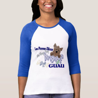 """The Dogs Say """"Woof"""" (blue) T-Shirt"""