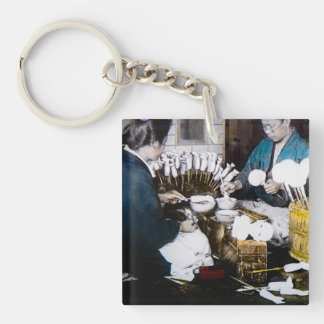 The Doll Makers of Old Japan Vintage Hand Tinted Keychain