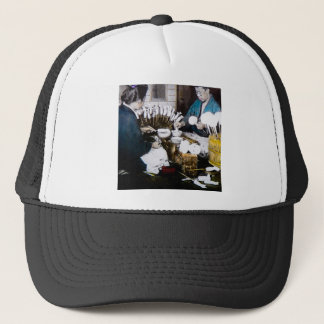 The Doll Makers of Old Japan Vintage Hand Tinted Trucker Hat