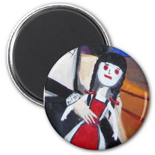 The Doll With the Red Button Eyes 2 Inch Round Magnet