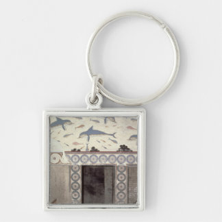 The Dolphin Frescoes in the Queen's Bathroom Silver-Colored Square Keychain