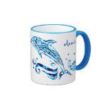 The Dolphin is My Friend Blue Sea Water Marine Joy Ringer Coffee Mug