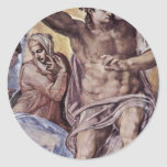 The Doomsday Fresco On The Altar Wall Of The Sisti Classic Round Sticker