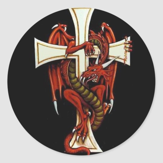 The Dragon and The Cross Classic Round Sticker