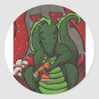 The Dragon and The Pizza Classic Round Sticker