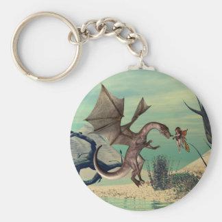 The dragon basic round button keychain