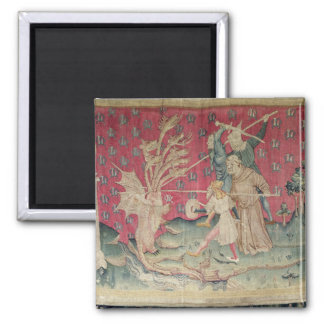 The Dragon Fighting with the Servants of God 2 Inch Square Magnet
