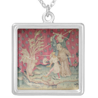 The Dragon Fighting with the Servants of God Square Pendant Necklace