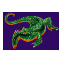 The Dragon, Green and Orange Poster