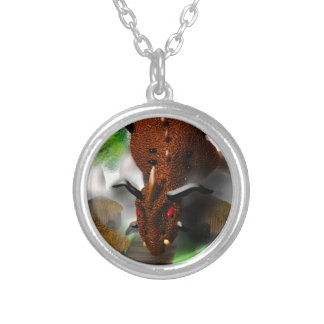 The Dragon in the Village Round Pendant Necklace