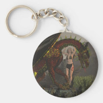 dragon, dragons, medieval, fantasy, fantasies, art, realism, wing, wings, magic, magical, mystical, mystic, ancient, girl, girls, humans, Keychain with custom graphic design