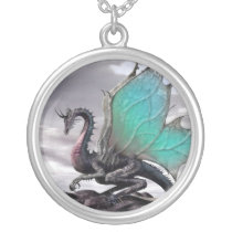 The dragon of the rock - silver plated necklace