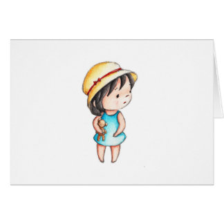 The Drawing of Little Girl with Teddy Bear Card