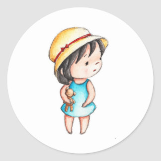 The Drawing of Little Girl with Teddy Bear Classic Round Sticker