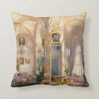 The Drawing Room in Rococo II Style, with Cupids Throw Pillow