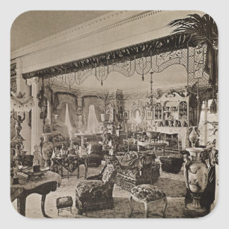 The Drawing Room, Wickham Hall, Kent, 1897 Square Sticker