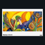 """The Dream Fantasy Modern Folk Art Alice Wonderland Wall Sticker<br><div class=""""desc"""">The Dream by Garden Of Delights Art Studio  Beautiful dreamy fantasy art with whimsical flowers,  birds,  clock snails and a sleeping girl.   Style: Modern Fantasy Art  Modern artistic fine art painting in the style of the colorful 60s psychedelic art movement.</div>"""