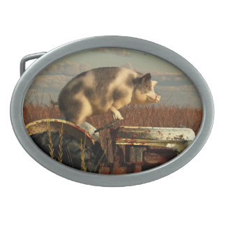 The Dream of a Pig Oval Belt Buckle