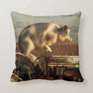 The Dream of a Pig Throw Pillows