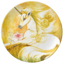 The Dreamy Golden Unicorn Dinner Plate