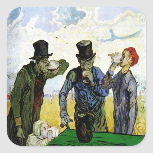 The Drinkers by Vincent van Gogh 1890 Square Sticker