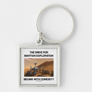 The Drive For Martian Exploration Begins Curiosity Silver-Colored Square Keychain