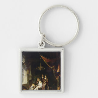 The Dropsical Woman, c.1663 Silver-Colored Square Keychain