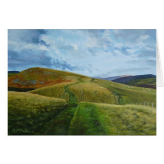 """The Drovers Road"" oil Northumberland Greeting Card"
