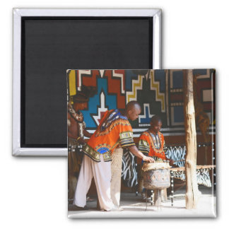 The Drum Beats Of Africa 2 Inch Square Magnet