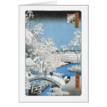 The Drum Bridge, Hiroshige, 1856-58 Greeting Card