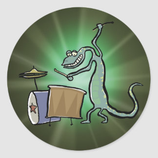 The drum playing lizard classic round sticker