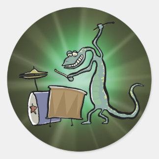 The drum playing lizard classic round sticker