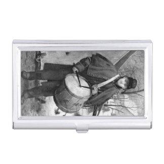 The Drummer Boy Vintage Civil War Grey Business Card Case