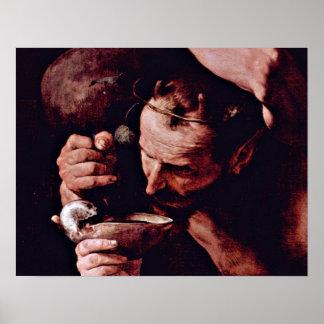 The drunken Silenos Detail by Jusepe de Ribera Poster