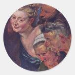 The Drunken Silenus Detail By Rubens Peter Paul Round Stickers