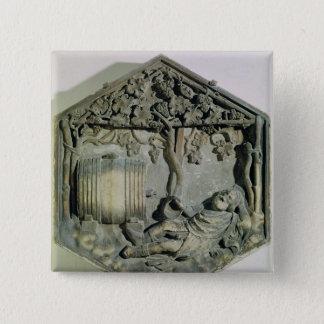 The Drunkenness of Noah, hexagonal decorative Button