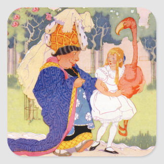 The Duchess Offers Alice Flamingo Croquet Tips Square Sticker