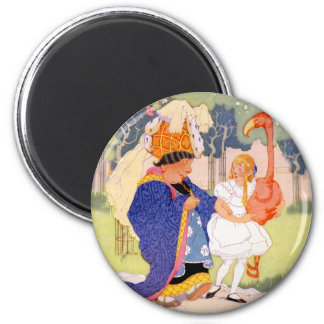 The Duchess Offers Alice Tips on Flamingo Croquet 2 Inch Round Magnet