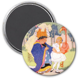 The Duchess Offers Alice Tips on Flamingo Croquet Refrigerator Magnets