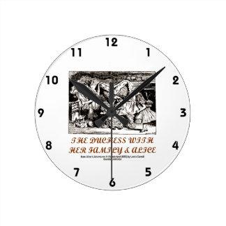 The Duchess With Her Family & Alice (Wonderland) Round Clock
