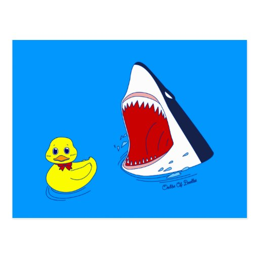 The Duck and The Shark Doodle Art Postcard