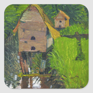The Duck Houses by August Haake Square Sticker