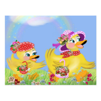 the ducklings go of stroll postcard