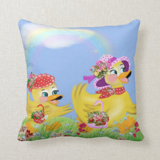 the ducklings go of stroll throw pillow