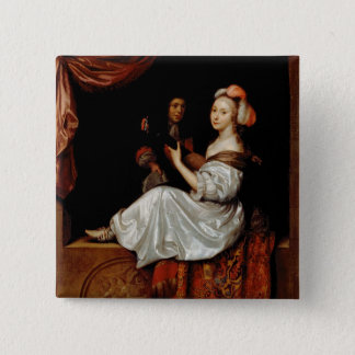 The Duet, 1665 (oil on canvas) Pinback Button