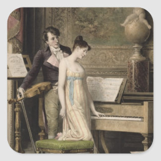 The Duet (mezzotint) Square Sticker