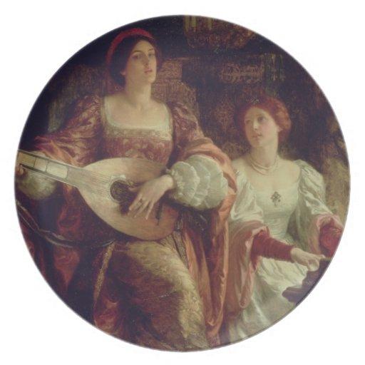 The Duet (oil on canvas) Dinner Plates