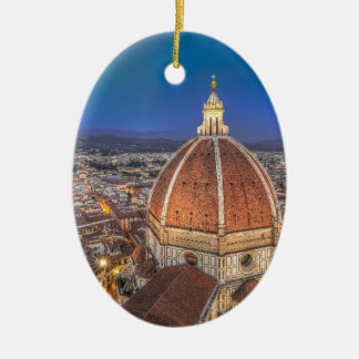 The Duomo in Florence, Italy Double-Sided Oval Ceramic Christmas Ornament