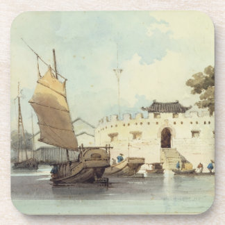 The Dutch Folly Fort off Canton (watercolour) Beverage Coaster