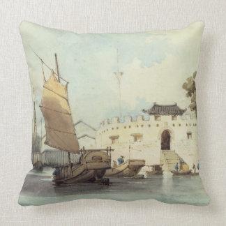 The Dutch Folly Fort off Canton (watercolour) Throw Pillows